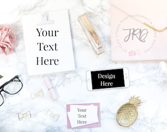 Marble Background Business Card & iPhone Mockup Styled Stock Photo