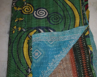 Indian Handmade Quilt Vintage Twin Kantha Bedspread Throw Cotton Blanket BY artisanofrajasthan 2299