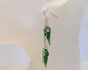 2 green peppers earrings
