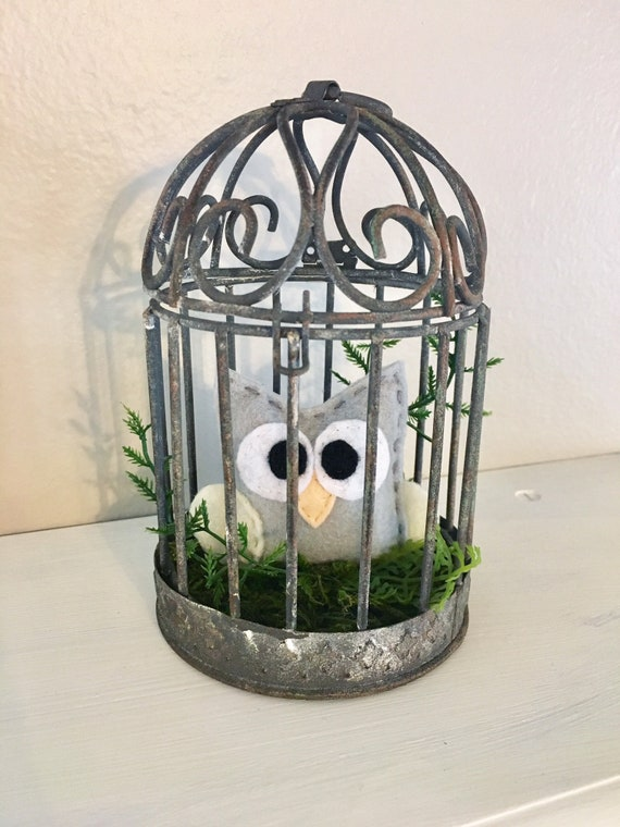 Owl Rustic Bird Cage Center Piece - Conversation Art, Home Decoration, Farmhouse Decor, Mossy Nest, Woodland Decoration, Cake Topper