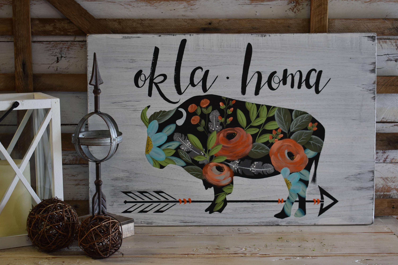 Buffalo Floral | Oklahoma | Rustic Farmhouse Sign | Hand Painted | Home  Decor