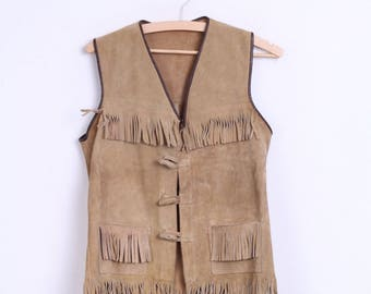 Vintage Womens One Size Vest Waistcoat Bright Brown Fringe Leather