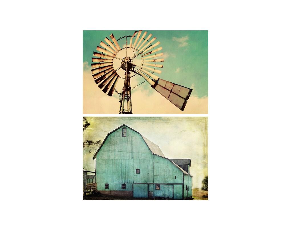 Country Aqua Barn Vintage Windmill Photo Canvas Set Farmhouse
