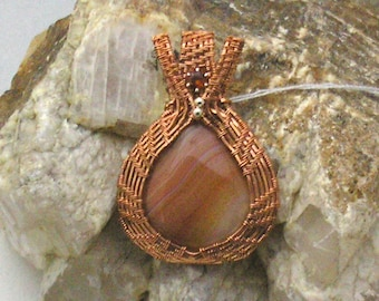 Handmade Wire Woven Botswana Agate Pendant with Hessonite Garnet