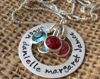 Mommy Necklace - Mother's Necklace - Mother's Day Gift -Personalized Necklace - Silver Washer Necklace with birthstone - Custom Mom Necklace