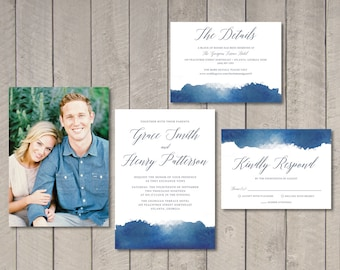 Navy Watercolor Wedding Invitation, RSVP, Details Card (Printable) by Vintage Sweet