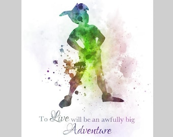 Peter Pan Quote ART PRINT illustration, Big Adventure, Disney, Wall Art, Home Decor