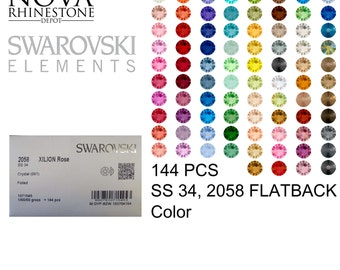 SS 34 Swarovski Element Flatback Not Hotfix 2058 COLOR 144pcs your choice 58 colors to choose from