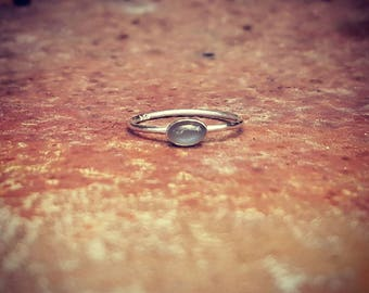 Australian Black Moonstone & recycled Sterling Silver Stack Ring