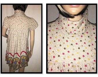 Vintage Flower Turtleneck Dress/Shirt. Size:Small