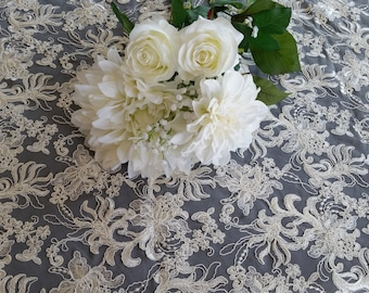 Ivory Floral Embroidery Overlay