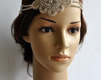Vintage Inspired Headband, The Great Gatsby Headband, 1920s headpiece flapper, rhinestone headband, crystal headpiece