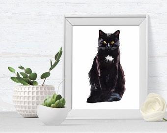 Cat Portrait - Cat Art Print - pet portrait - black cat print - cat art print - kitten print - ideal gift for cat lovers
