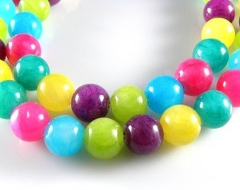 Mixed Color 8mm Round Jade Beads - 15 inch full strand