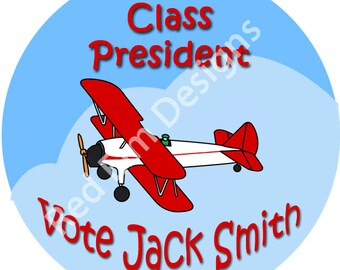 "Class President Stickers Airplane- Sheet of 20 - 2"" round. Plane Class President Stickers.  Vote For Class President,  2 Inch Round Stickers"
