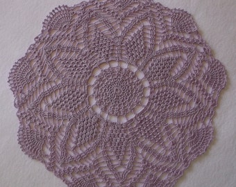 Crochet Doily in Violet Purple, Round Doily, Doily, Lavendar Doily, Violet Doily, Purple Doily, Pineapple Doily
