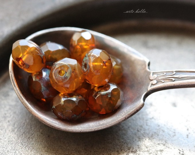 BROWNED SUGAR .. 10 Premium Picasso Czech Rondelle Glass Beads 5x7mm (B05-10)