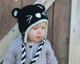 Black Cat Hat, Cat Hat, Kitty Hat, Kids Hat, Children Hat, Toddler Hat, Baby Hat, Crochet Cat Hat, Black Kitty Hat, Animal Hat