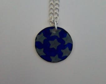 Starry Night Pendant On Silver Plated Necklace