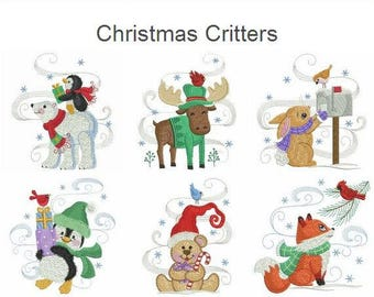 Christmas Critters Machine Embroidery Designs Instant Download 4x4 5x5 hoop 10 designs APE2653