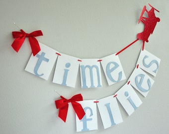 Airplane Party Decoration.  Handcrafted in 2-5 Business Days.  Time Flies Birthday Banner.