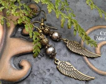 Pearl Angel wing earrings, Pearl dangle earrings, Angel earrings, Boho Angel earrings, drop dangle earrings, June birthstone
