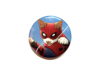 """Spider-Cat 1.5"""" pinback button"""