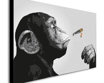 Monkey Chimp Smoking Spliff Canvas Wall Art Print - Various Sizes