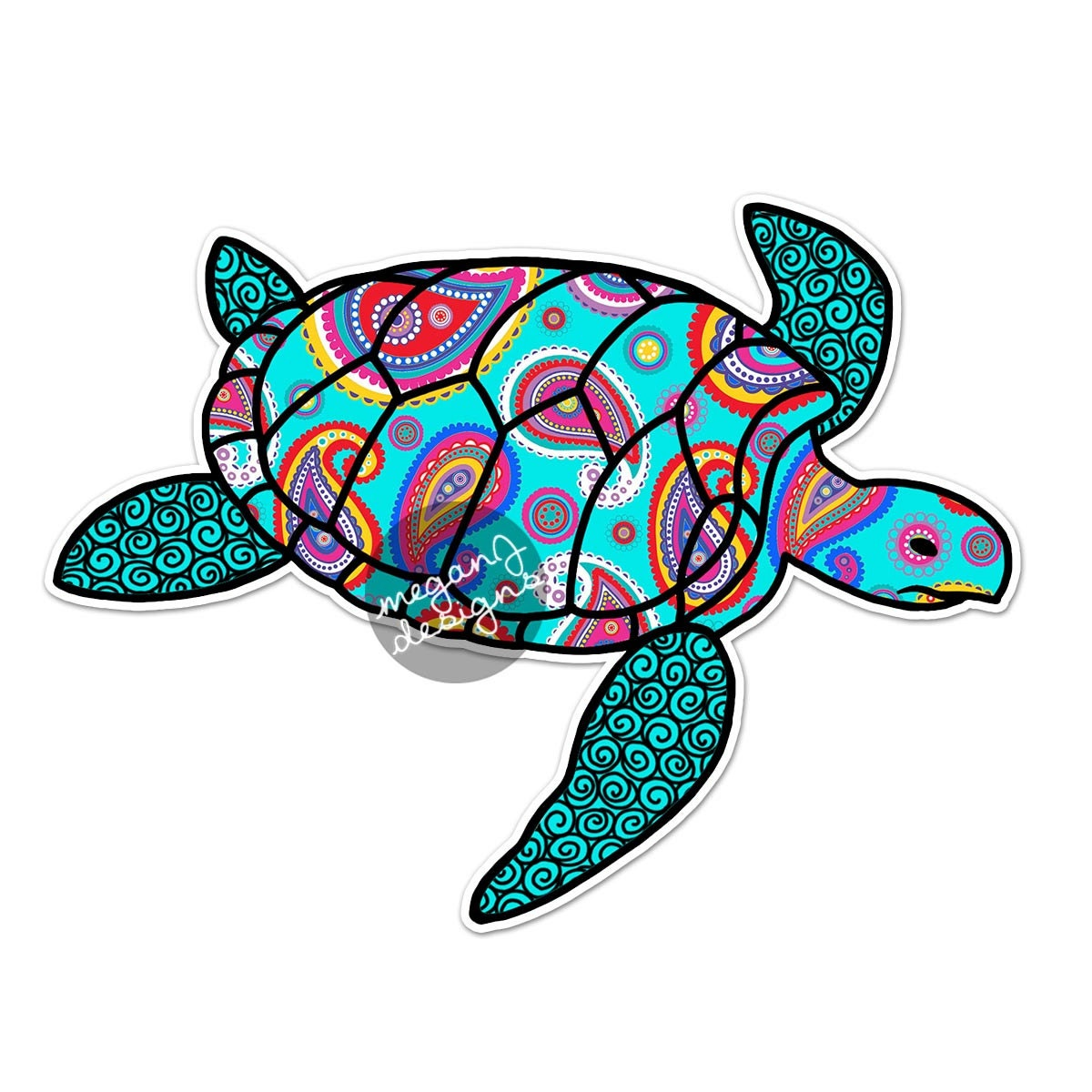 blue paisley sea turtle decal colorful pattern beach bumper