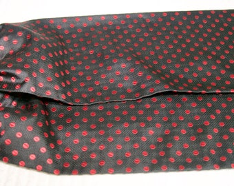 Vintage Black Red Couture Brand Polka Dot Ascot