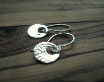 Tiny silver earrings - Sterling silver earrings - Small earrings - Hammered silver earrings - Gift for her - Everyday earrings - Small gift