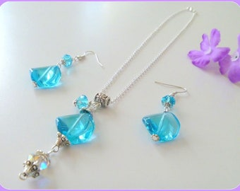 Blue Glass and Crystal Beaded Necklace and Earrings Set