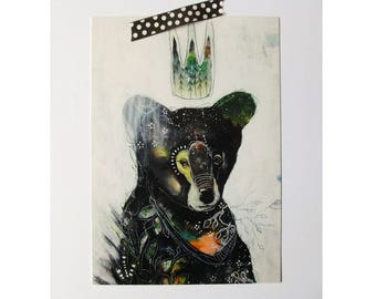 Bear glossy oversized postcard poster print black bear painting art print A5 size - The forest is alive within me