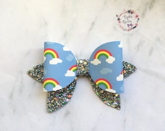 Sparkly Rainbow Bow Hair Accessory (headband or clip)