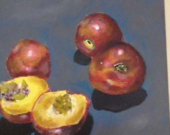 Painting of peaches, original painting, acrylic painting, 10x10 canvas, Bradley Pearson