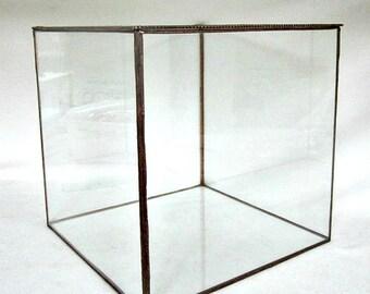 "Display Box, Glass Box, Souvenir Display Box, Collection Display Box, Keepsake Display Box, Bridal Bouquet Display Box, 9x9x9"" Tall"
