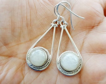 Moonstone Earrings -  Sterling Silver Earrings - White Moon Stone Earrings - Silver Teardrop Earrings- Moonstone Jewelry