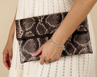 Faux snakeskin foldover clutch, fold over purse, animal print, snake print, de almeida designs
