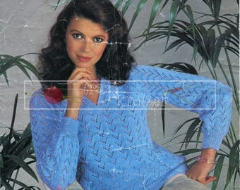"""Lady's Lace Sweater 32-38"""" 4ply Sirdar 6171 Vintage Knitting Pattern PDF instant download"""