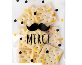 Set of 50 Merci clear gift bags, Self adhesive bags, Transparent favour bags