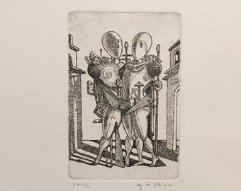 GIORGIO DE CHIRICO - 'Hector and Andromaque' - hand signed & numbered original etching - c1970s (edition of 50)
