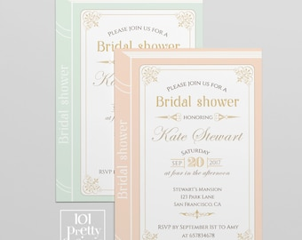 black and gold bridal shower invitation template printable