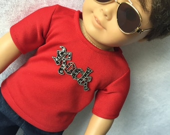 Red Rock N Roll Shirt. American Boy Doll Clothes. 18 inch doll clothes.