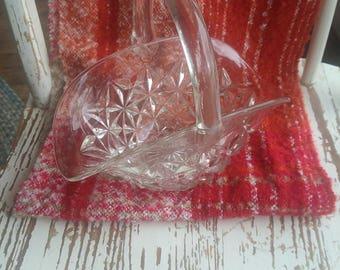 Vintage Clear Glass Bride's Basket