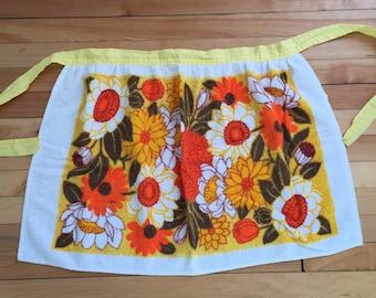 Vintage 1960s Yellow Orange Floral Terry Cloth Half Apron!