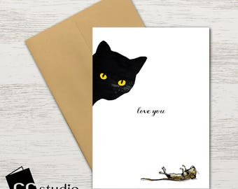 Peek A Boo I Love You Black Cats Birthday Card Cat Lover