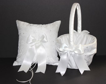 Winter Snowflake Ivory or White Wedding Ring Bearer Pillow & Flower Girl Basket 2pc set