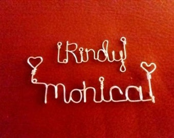 Custom Wire Name Tag Neckless ornament, Handmade to your request.
