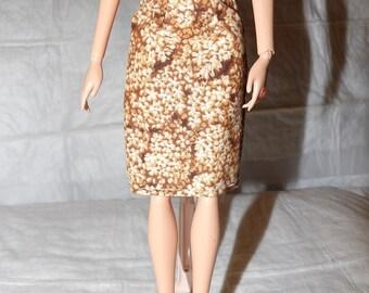 Mode poupée coordonnées - marron & blanc floral jupe - es408