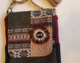 Handmade Upcycled Felted Wool / Cross Body / Messenger Style / Cotton Lined / Multi-Pocketed / OOAK Handbag